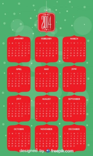 2014 Calendar in Christmas Colors Free Vector