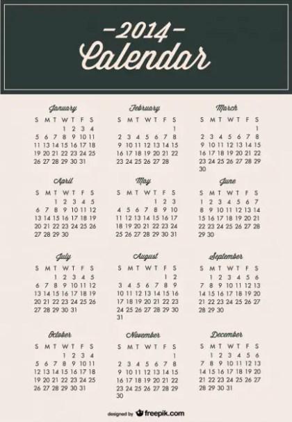 2014 Calendar Minimalist Modern Template Free Vector