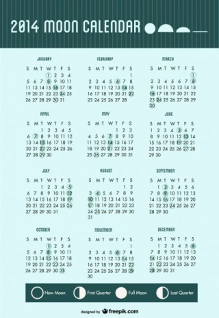 2014 Calendar Moon Phases Free Vector