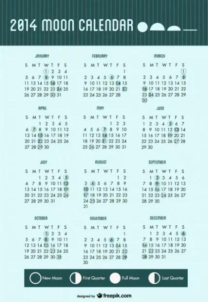 2014 Calendar Moon Phases Free Vector