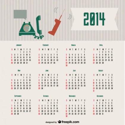 2014 Calendar Retro Communication Concept Design Free Vector