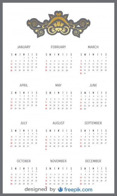 2014 Calendar with Decorative Header Free Vector