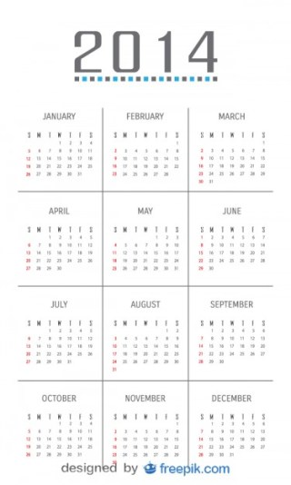2014 Calendar with Minimalist Design Free Vector
