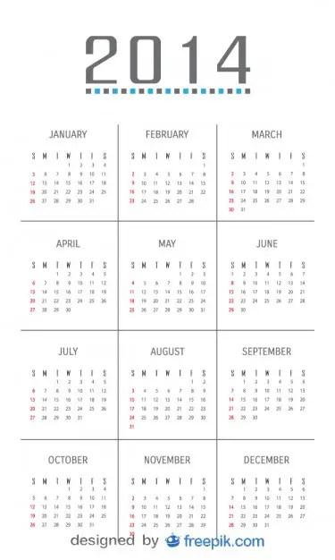 2014 Calendar with Minimalist Design Free Vector