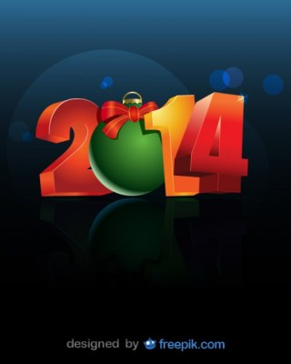 2014 Converted 0 in Christmas Ball Free Vector