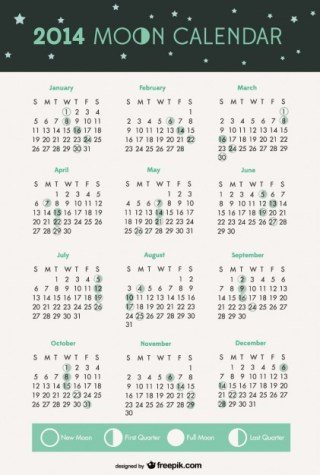 2014 Moon Phases Calendar Free Vector