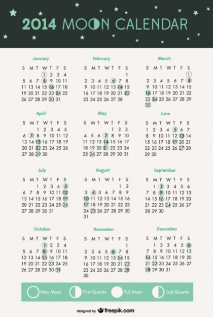 2014 Moon Phases Calendar Free Vector