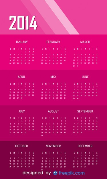2014 Pink Calendar Free Vector