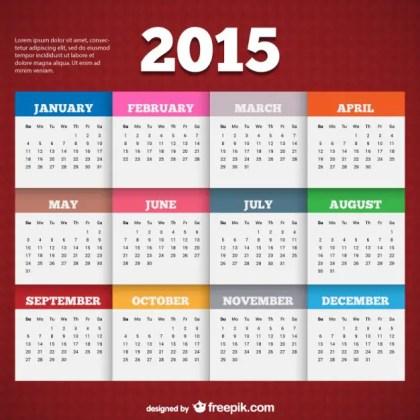 2015 Calendar Template Free Vector