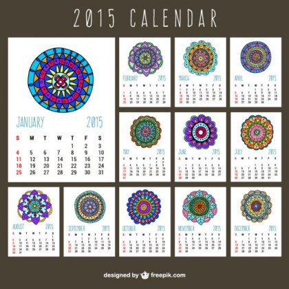 2015 Calendar with Abstract Ornaments Free Vector