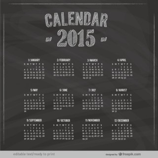 2015 Calendar with Blackboard Texture Free Vector