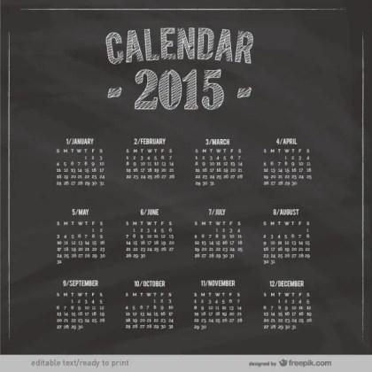 2015 Calendar with Blackboard Texture Free Vector