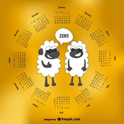 2015 Calendar with Sheep Cartoon Free Vector