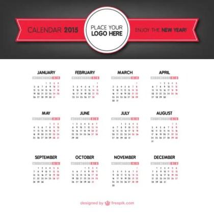 2015 Classic Calendar Free Vector