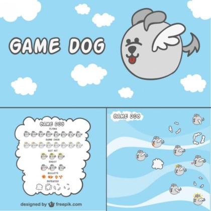 2D Game Dog Character Free Vector