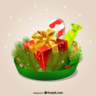 3D Christmas Ornaments Free Vector