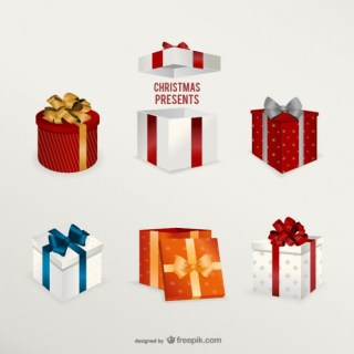 3D Christmas Presents Pack Free Vector