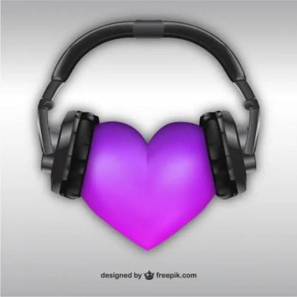 3D Heart with Headphones Free Vector