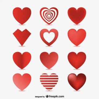 3D Hearts Free Vector
