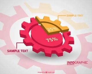 3D Infographics Gear Design Free Vector