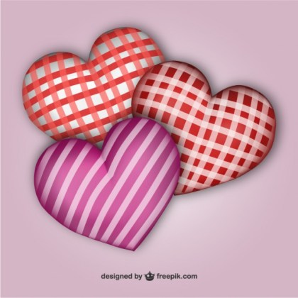 3D Patterned Hearts Free Vector