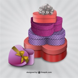 3D Valentine Presents Free Vector
