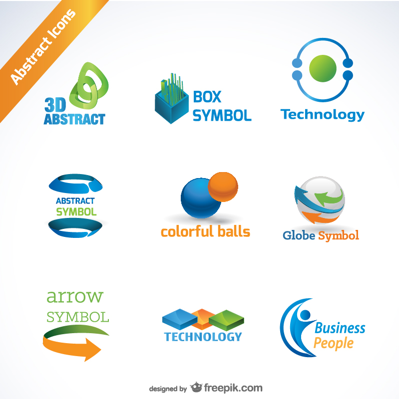 Abstract Icons for Logos in Orange Blue and Green Free Vector