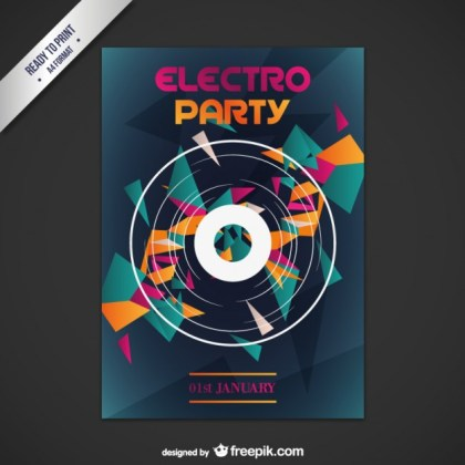 Abstract Techno Party Poster Free Vector