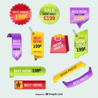 Advertising Price Tags Set Free Vector