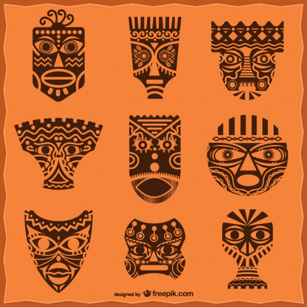 African Masks Pack Free Vector