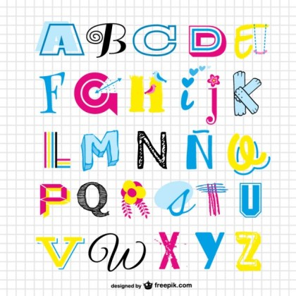 Alphabet Set Free Vector