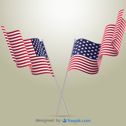 American Flags Illustration Free Vector