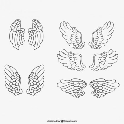 Angel Wings Hand-Drawn Free Vector
