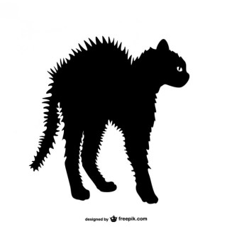 Angry Cat Silhouette Free Vector