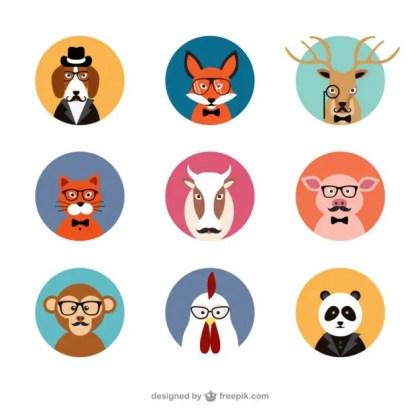 Animal Avatars Free Vector