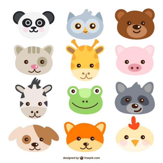 Animals Faces Free Vector