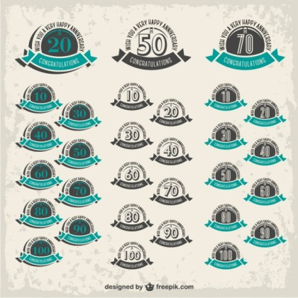 Anniversary Badges Collection Free Vector