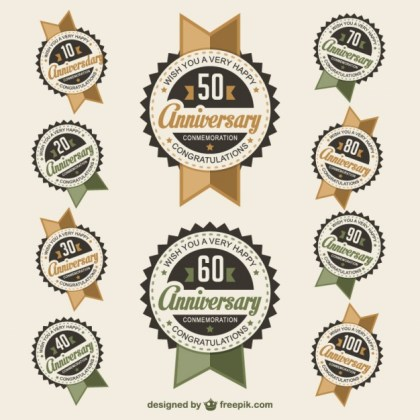 Anniversary Badges Free Vector