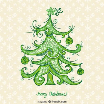Artistic Card with Christmas Tree Free Vector