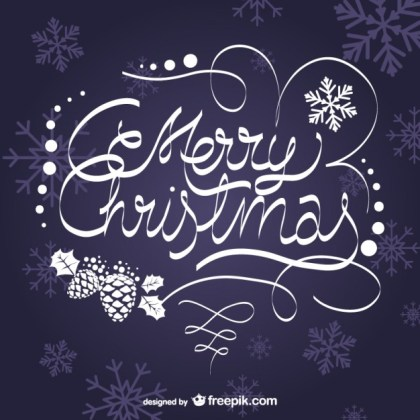 Artistic Merry Christmas Lettering Free Vector
