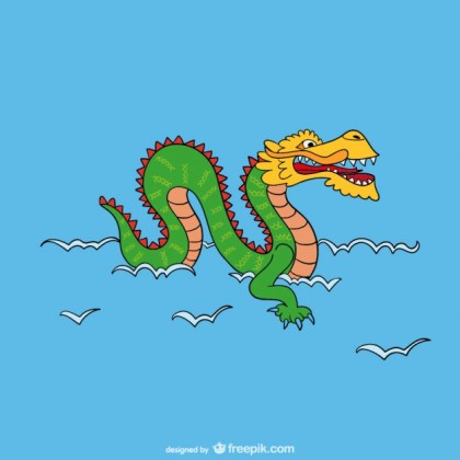 Asian Dragon Cartoon Free Vector