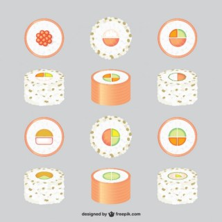 Asian Food Graphics Set Free Vector