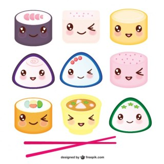 Asian Food Kawaii Cartoon Free Vector