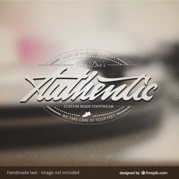 Authentic Footwear Badge Over Photo Background Free Vector