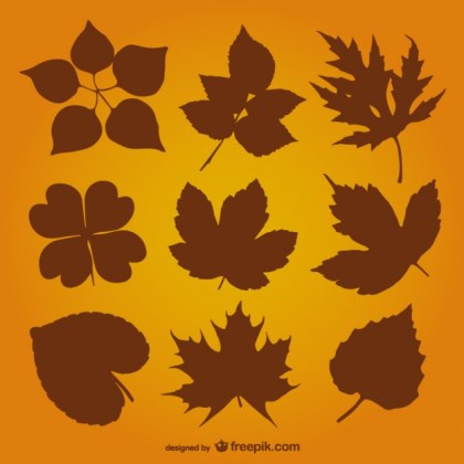 Autumn Leaves Silhouette Free Vector