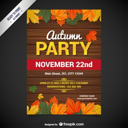 Autumn Party Poster Free Vector