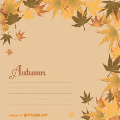 Autumn Template with Leaves Free Vector