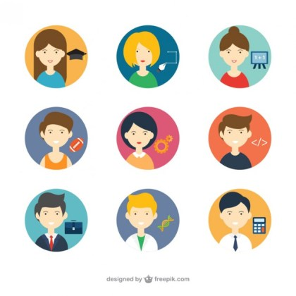 Avatars with Different Professions Free Vector