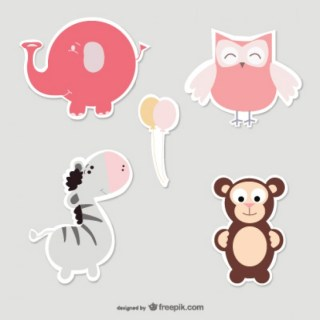 Baby Animals Set Free Vector