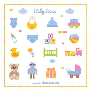 Baby Boy Set of Icons Free Vector